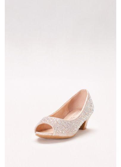 Girls Crystal-Embellished Low-Heeled Peep-Toes - Wedding Accessories