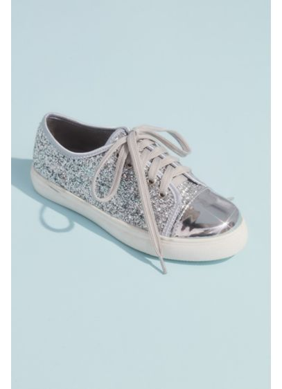 Girls Glitter Lace Up Metallic Toe Cap Sneakers - Covered in glitter and finished with a metallic