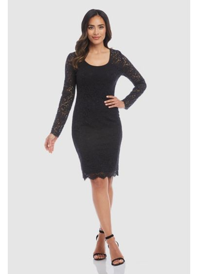 London Long Sleeve Lace Short Sheath Dress - Crafted of European Lace, this short sheath dress
