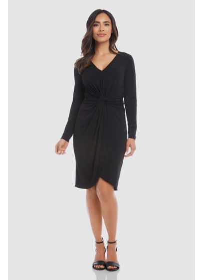 Meghan Twist Long Sleeve Crepe Sheath Dress - Simply beautiful, this short crepe sheath dress is