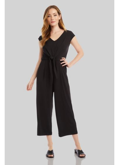 Flowy Wide-Leg Cap Sleeve Tie-Front Jumpsuit - Both comfortable and elegant, this jersey knit jumpsuit
