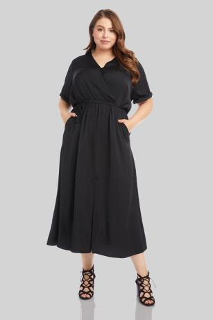 Tea Length Short Sleeves Dress - Karen Kane