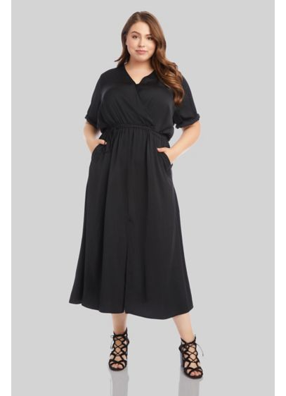 Cuffed Short Sleeve Plus Size Dress with Tie - Fashionable details like cuffed short sleeves, a surplice