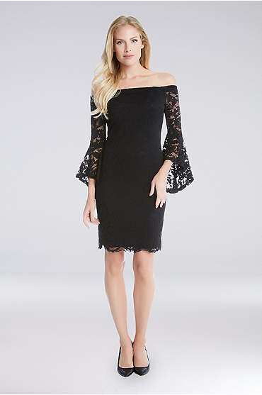 Off-the-Shoulder Lace Bell-Sleeve Sheath Dress