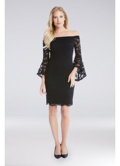 Off-the-Shoulder Lace Bell-Sleeve Sheath Dress - This short, show-stopping sheath dress is crafted of