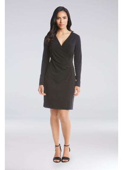 Long Sleeve V-Neck Faux Wrap Short Jersey Dress - Simple and chic, this is a jersey dress