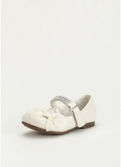White (Flower Girl Mary Jane Flats with Rhinestone Strap)