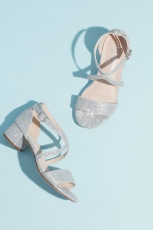 Blossom Grey;Ivory Flowergirl Shoes (Girls Block Heel Sandals with Crossing Vamp Straps)