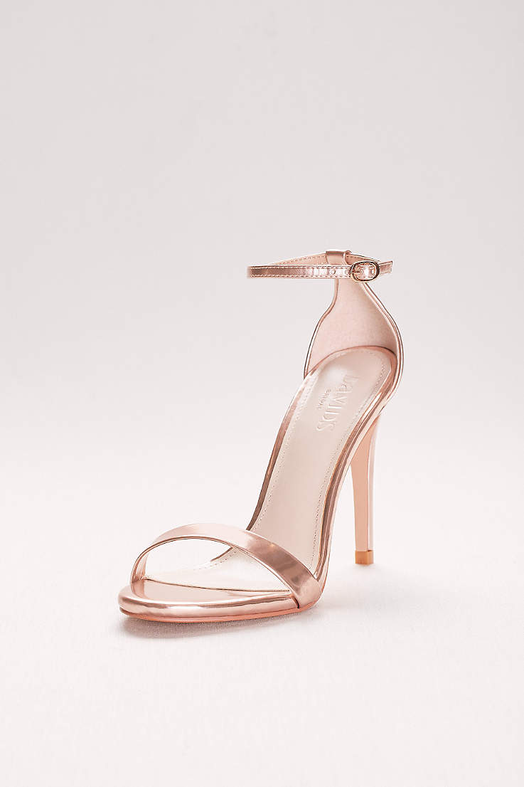 a56ede931780 David s Bridal Beige Pink Heeled Sandals (Patent High Heel Sandals with Ankle  Strap)