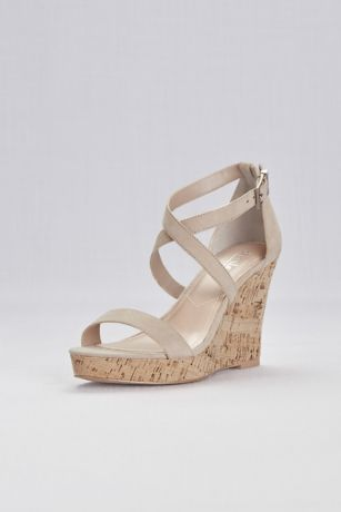 Charles By Charles David Beige Wedges (Cork Wedge Sandals with Crisscross Ankle Strap)