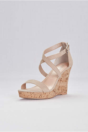 Cork Wedge Sandals with Crisscross Ankle Strap