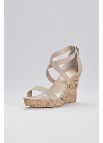 Beige (Cork Wedge Sandals with Crisscross Ankle Strap)