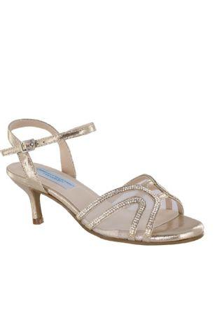 Benjamin Walk Grey;Ivory Heeled Sandals (Swooping Strap Metallic Sandals with Mesh Insets)