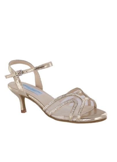 Swooping Strap Metallic Sandals with Mesh Insets - Swooping metallic straps and sheer mesh insets come