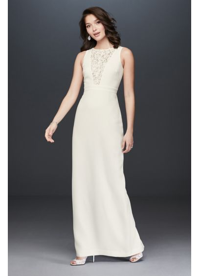 Plunging Illusion Lace Sheath Gown with Flowers - Floral appliques sit atop a plunging illusion lace