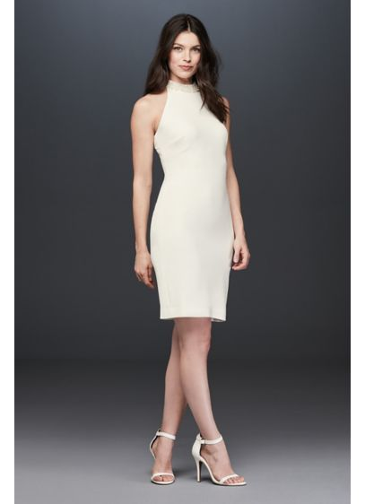 Pearl Collar High-Neck Short Sheath Dress - Perfect for a shower, rehearsal dinner, or any