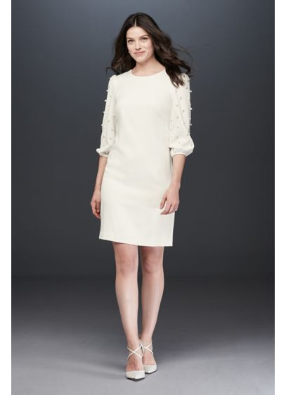 Pearl Embellished Balloon-Sleeve Sheath Dress - A classic crepe sheath silhouette gets an update