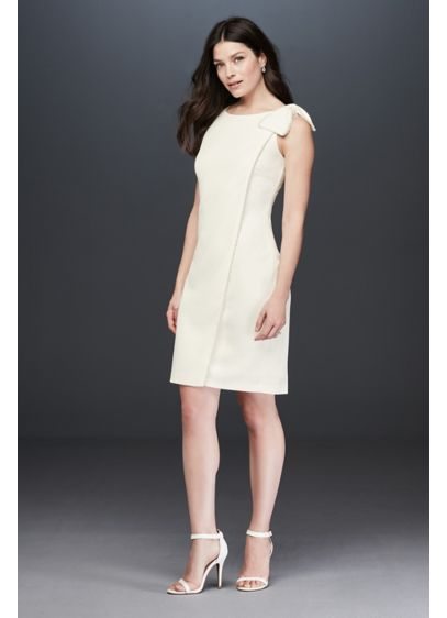 Pearl Trimmed Tank Sheath Dress with Bow - If you're drawn to classic styles and silhouettes,