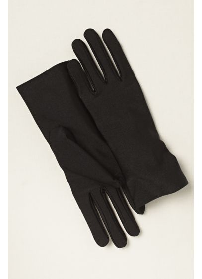 White (Matte Satin Wrist Length Gloves)