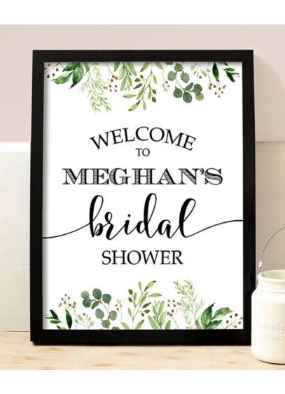 Greenery Personalized Name Bridal Shower Sign - Welcome guests to the bridal shower with this