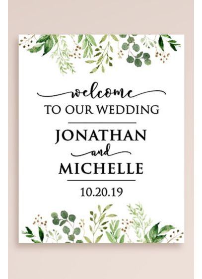 Greenery Personalized Wedding Welcome Sign - Wedding Gifts & Decorations