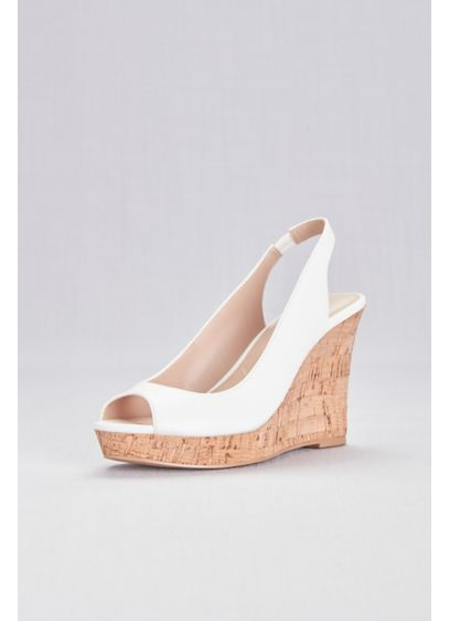 Charles By Charles David White (Peep-Toe Slingback Cork Wedge Sandals)