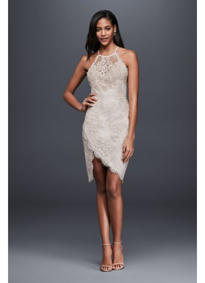 Lace Halter Mini Dress with Asymmetric Hem | David\'s Bridal