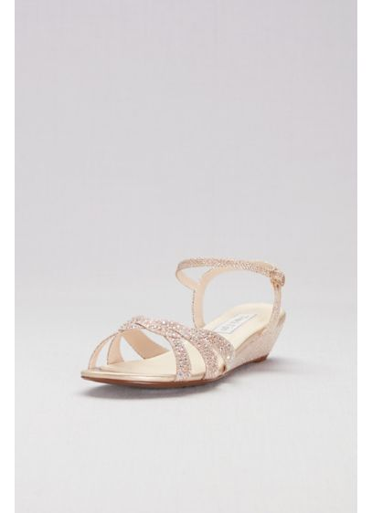 Touch Ups Grey (Glitter Mini-Wedge Sandals with Woven Straps)