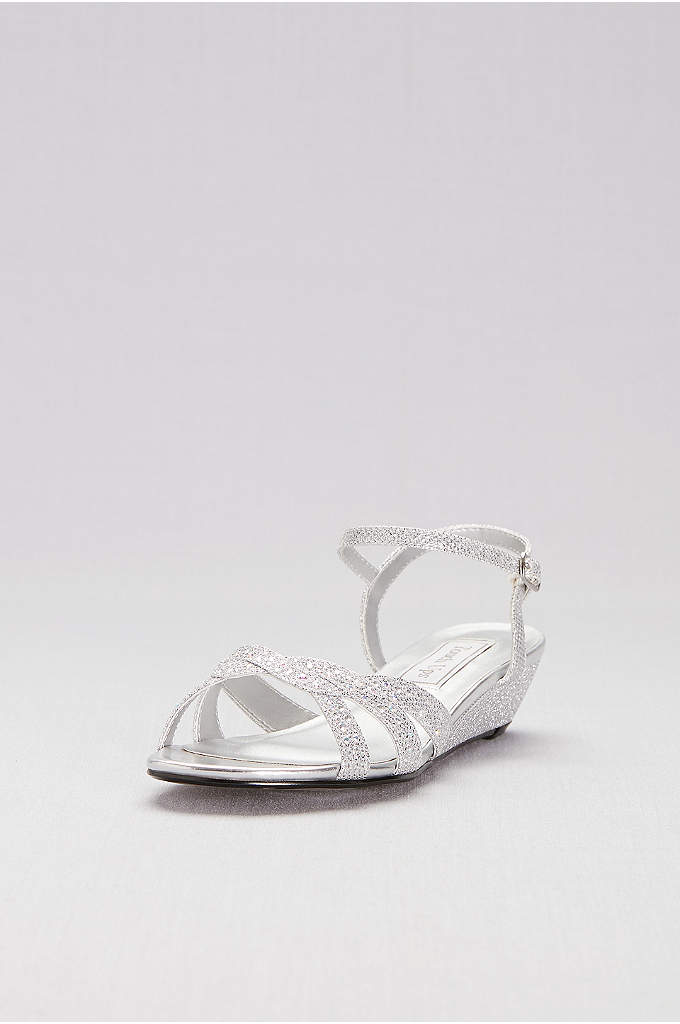 Glitter Mini-Wedge Sandals with Woven Straps - Woven crisscross straps, sprinkled with iridescent gems, adds