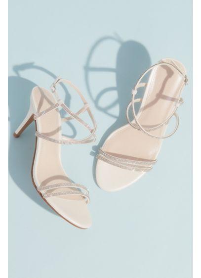 David's Bridal White (Skinny-Strap Crisscross Glitter Heels)