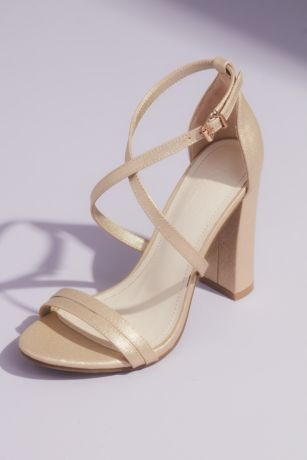 David's Bridal Beige;Grey;Ivory;Pink Heeled Sandals (Metallic Crossing Straps Block Heel Sandals)