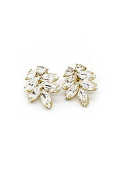 Brides and Hairpins Grey (Swarovski Crystal and Sterling Leaf Earrings)