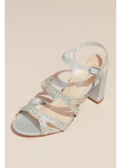 Cutout Crystal Strap Glitter Block Heel Sandals - Add dramatic flair to any dress or jumpsuit