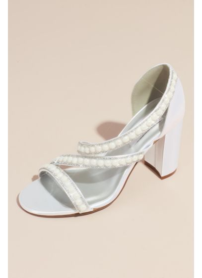 Dyeables White (Dyeable Satin Block Heel Sandals with Pearls)