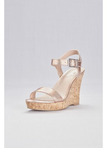 Charles By Charles David Pink (Metallic Cork Wedge Sandals with Chunky Buckle)