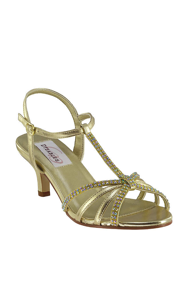 Crystal Encrusted T-Strap Peep-Toe Sandals - Skinny straps make this mid-heel pair super stylish.