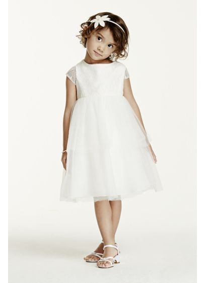 Short Ballgown Short Sleeves Communion Dress - David's Bridal