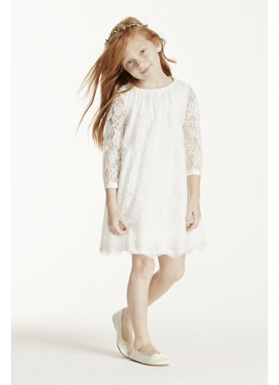 Short A-Line 3/4 Sleeves Communion Dress - David's Bridal