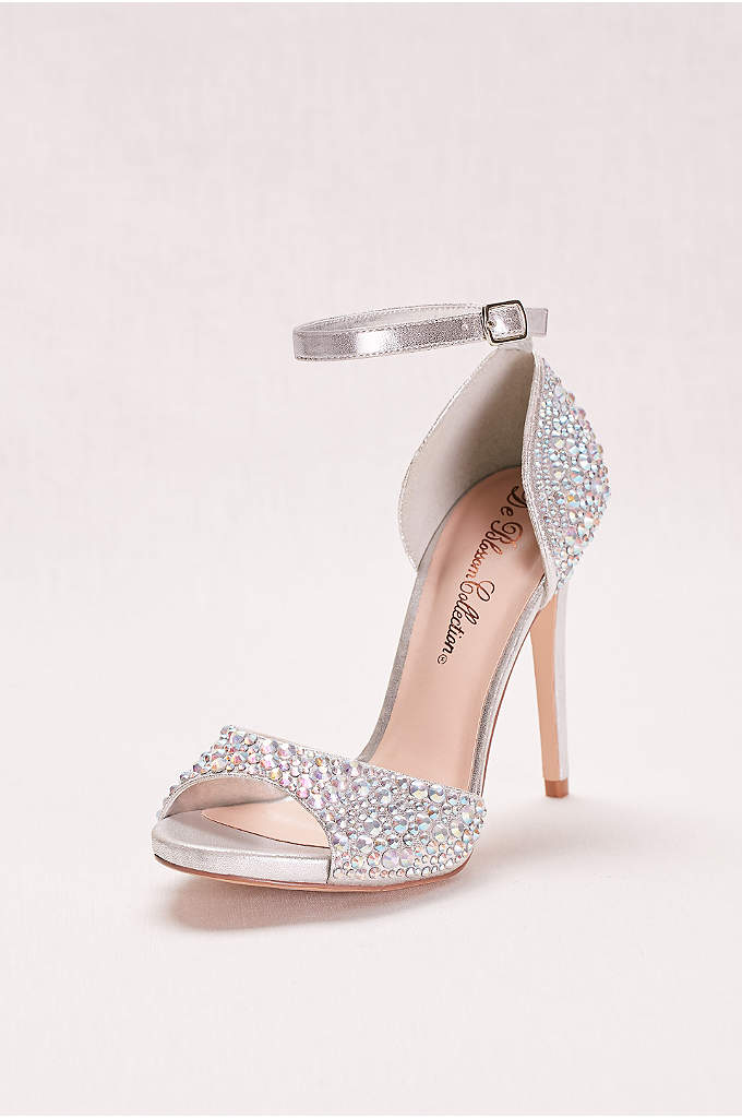 Crystal Peep Toe High Heel with Ankle Strap - From the super-high heel to the multicolor crystals,