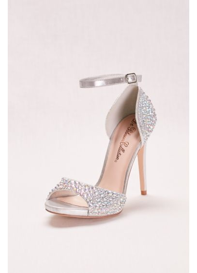 David's Bridal Grey (Crystal Peep Toe High Heel with Ankle Strap)