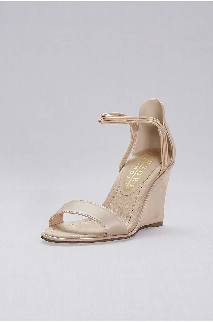 Satin Wedges with Elastic Ankle Straps