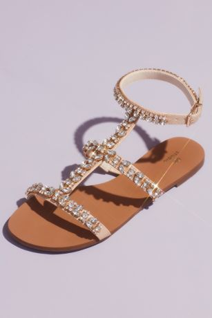 David's Bridal Ivory Flat Sandals (Crystal Encrusted Strappy Gladiator Sandals)