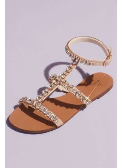 Crystal Encrusted Strappy Gladiator Sandals - Wear these crystal adorned flat gladiator sandals to