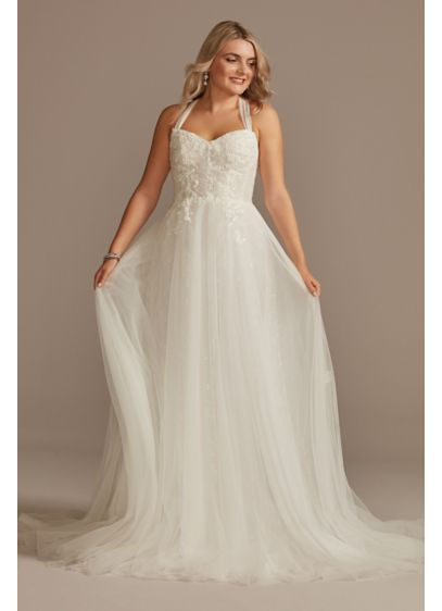Draped Tulle Wedding Dress with Convertible Straps - This hand-draped tulle wedding dress offers multiple gown