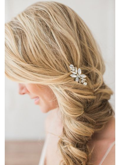 Crystal and Opal Hand-Crafted Flower Comb - Adorn braids, twists, and waves with this elegant