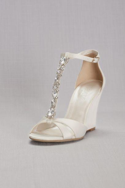 crystal tstrap satin wedges davids bridal