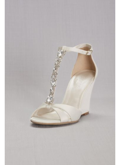 David's Bridal Ivory (Crystal T-Strap Satin Wedges)