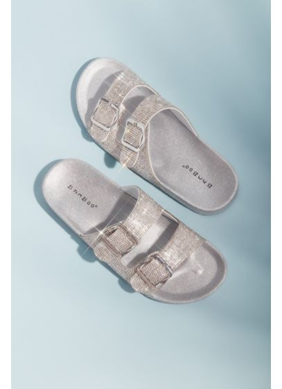 Bamboo Grey (Micro Crystal Double Strap Flat Sandals)