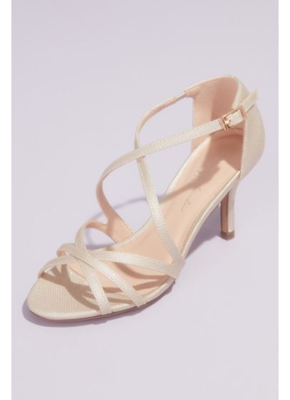Pink Paradox Grey (Metallic Crisscross Strappy Heeled Sandals)