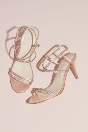 David's Bridal Pink Heeled Sandals (Skinny-Strap Crisscross Glitter Heels)